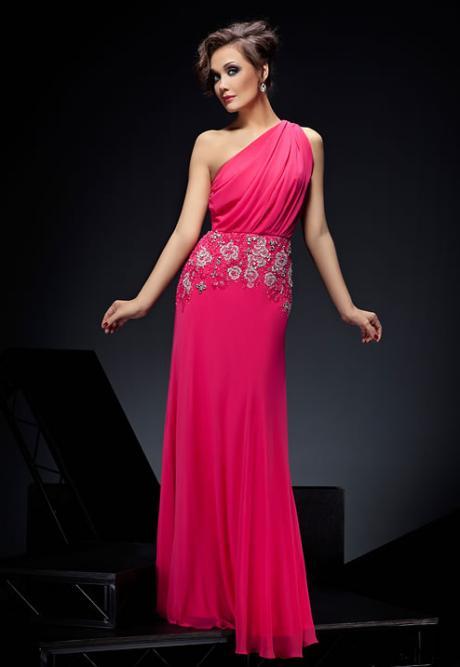 С бретелей на одно плечо коллекции вечерних платьев 2012.
