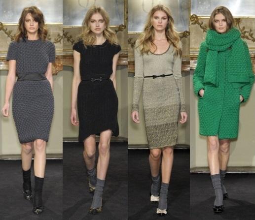 Модные тенденции осени 2011-зимы 2012: Вязаные платья.  Какими.
