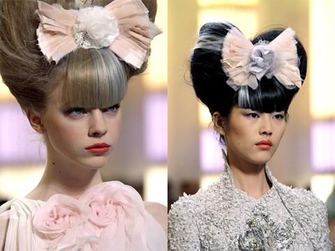 ...один вечер и добавить еще больше гламура своему образу можно, украсив высокую прическу бантом из коллекции Chanel.