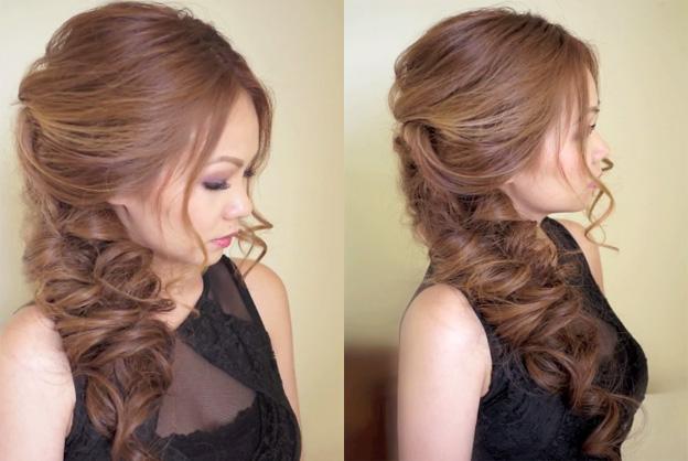 Вечерняя прическа для длинных волос на бок