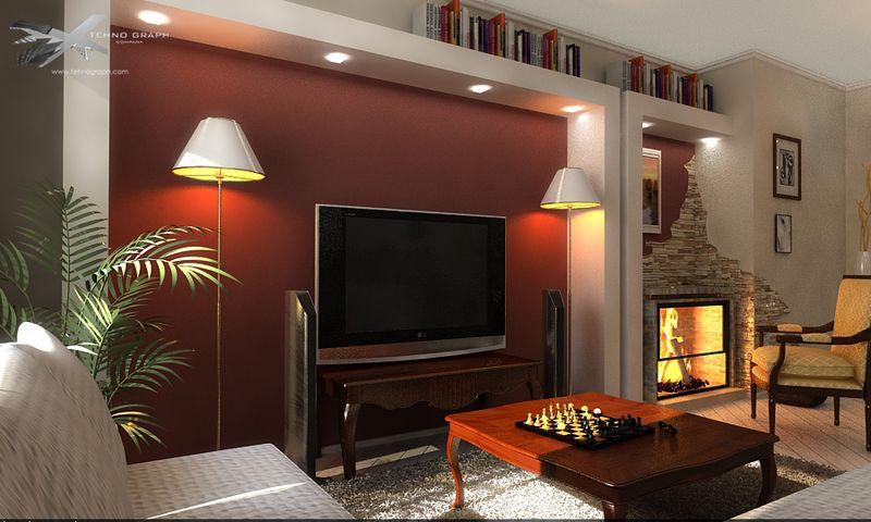 Интерьер зала в квартире с камином фото