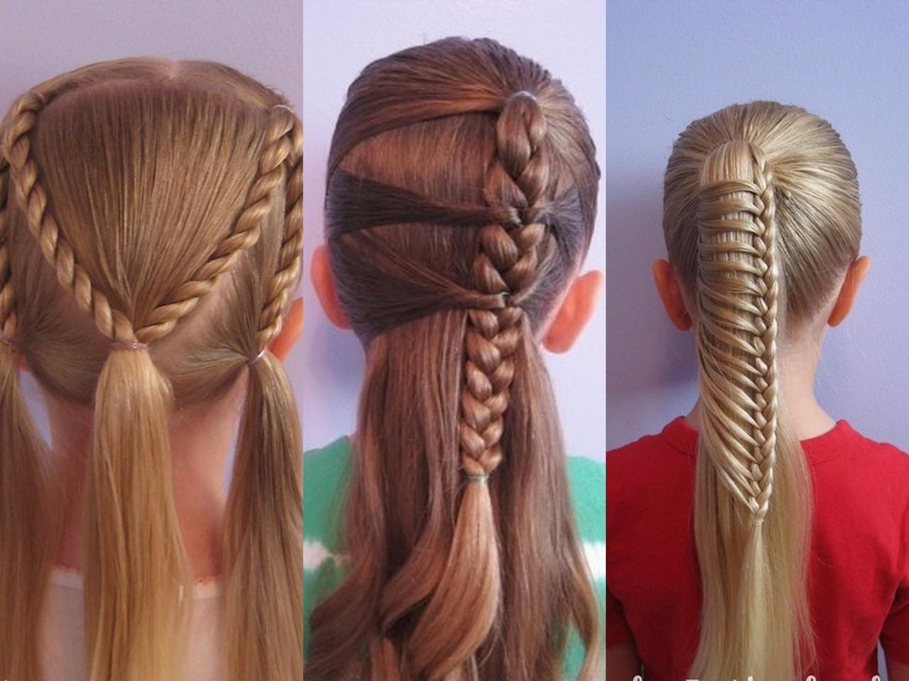 Прическа на средние волосы для девочек в домашних условиях