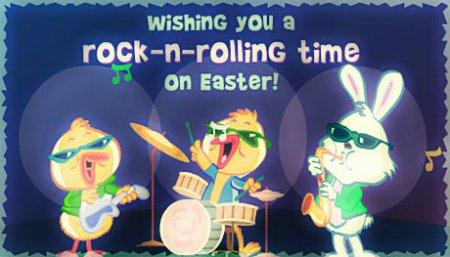 Флеш открытка с поздравлениями - Рок-н-рольной Пасхи!