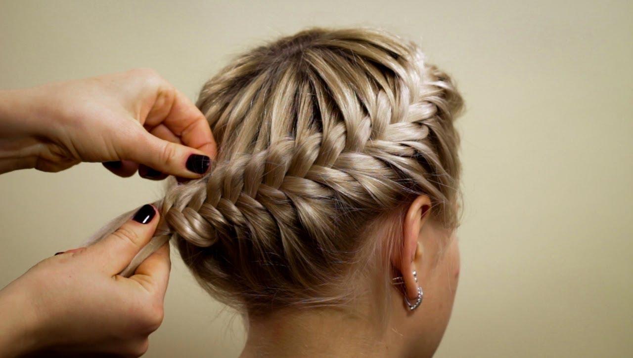 плетение кос корзинка фото