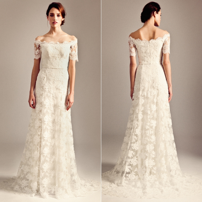Красивые свадебные платья декольте