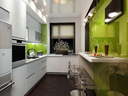 Интерьер узкой кухни: больше пространства