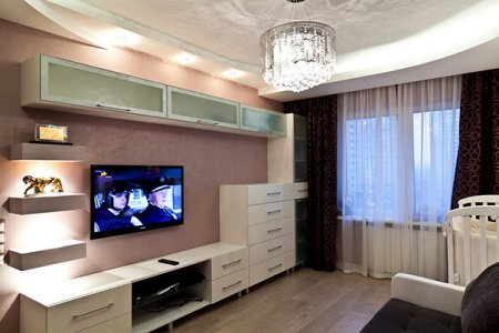 Інтер'єр 1 кімнатної квартири 38 кв м