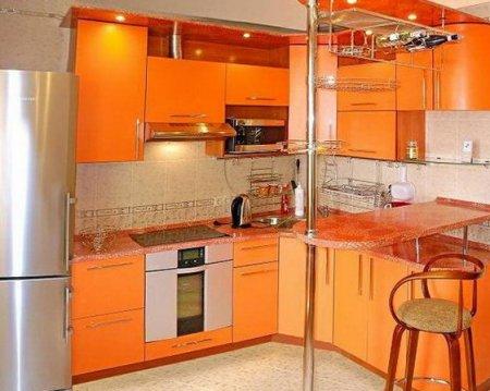 Інтер'єр кутової кухні 9 м. кв м фото