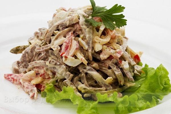 Салат с языком и огурцом рецепт