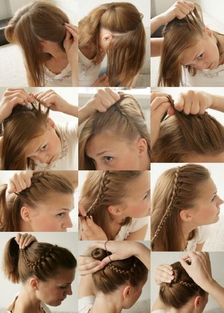 Коса на короткие волосы вокруг головы