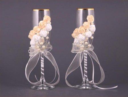 Украшение свадебных бокалов своими руками: ТОП-5 способов