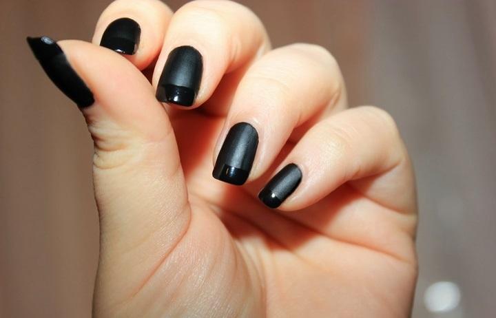 фото черный френч ногти