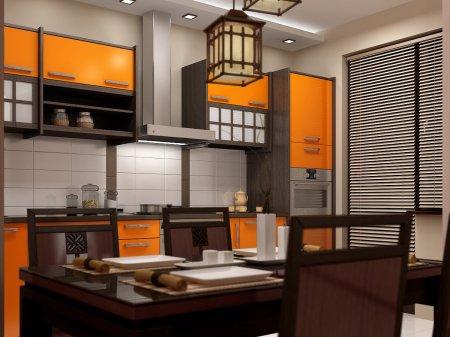 Дизайн інтер'єру кухні в японському стилі