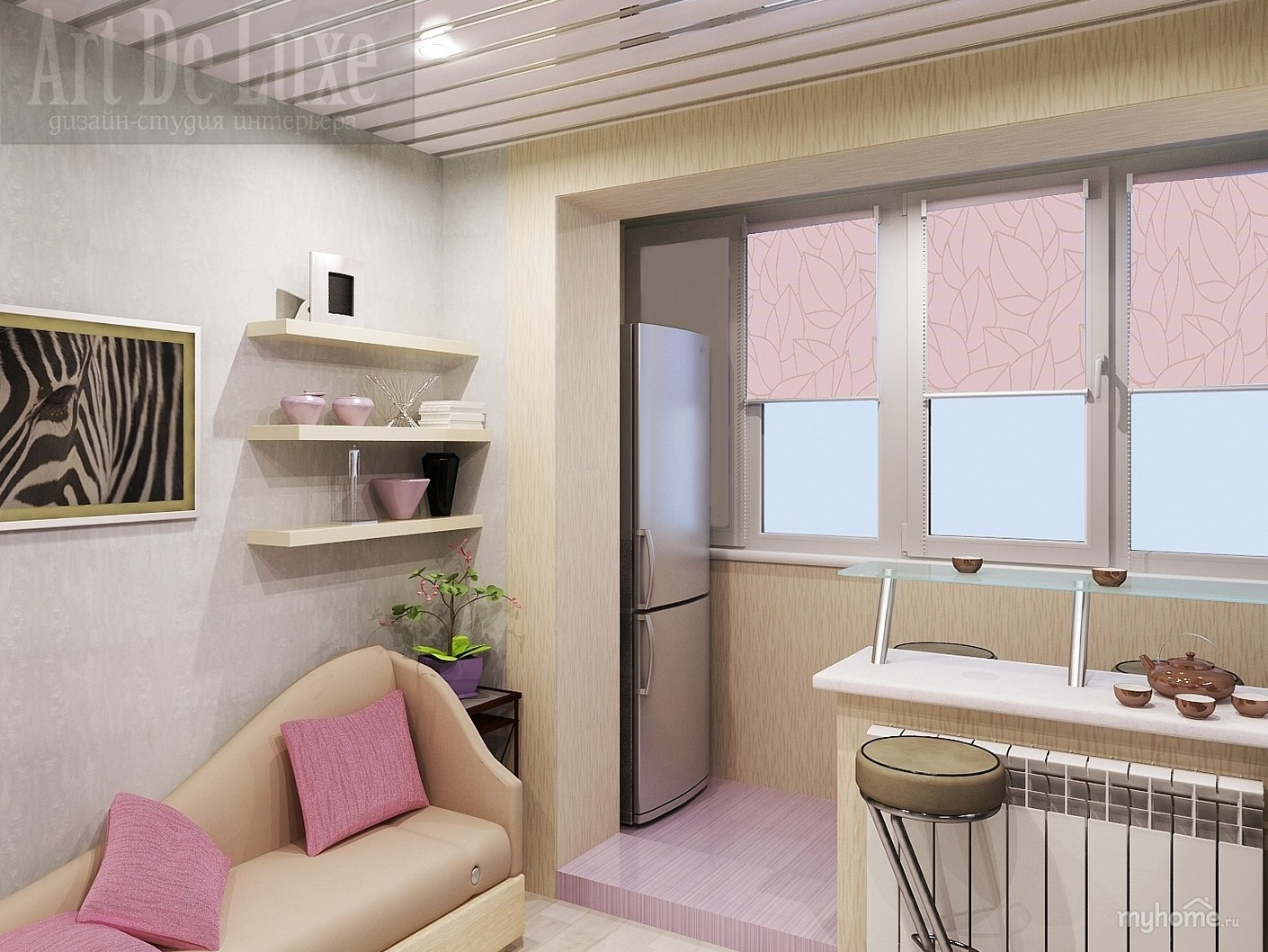 Объединить балкон с кухней дизайн