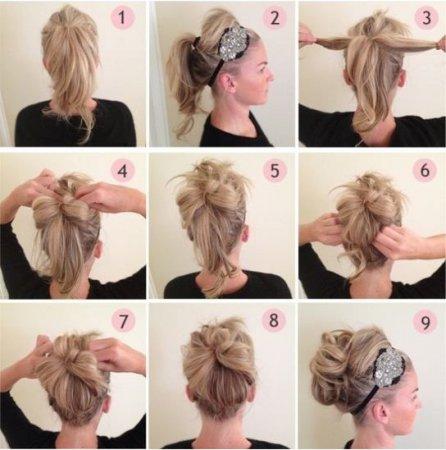Як зробити зачіску з пов'язкою на волосся середньої довжини