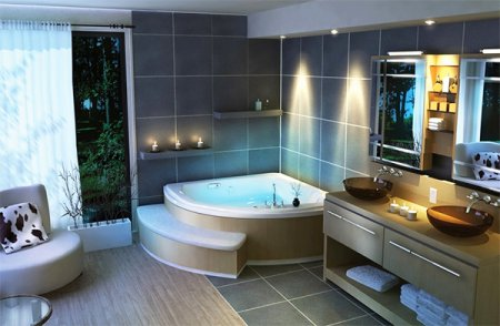 Как оформить интерьер ванной комнаты большого размера: 5 советов