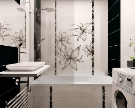 Тонкости оформления интерьера ванной комнаты в черно-белых тонах