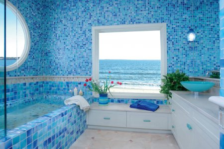 Интерьер ванной комнаты: голубой цвет