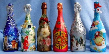 Декупаж пляшки: що потрібно знати новачкові