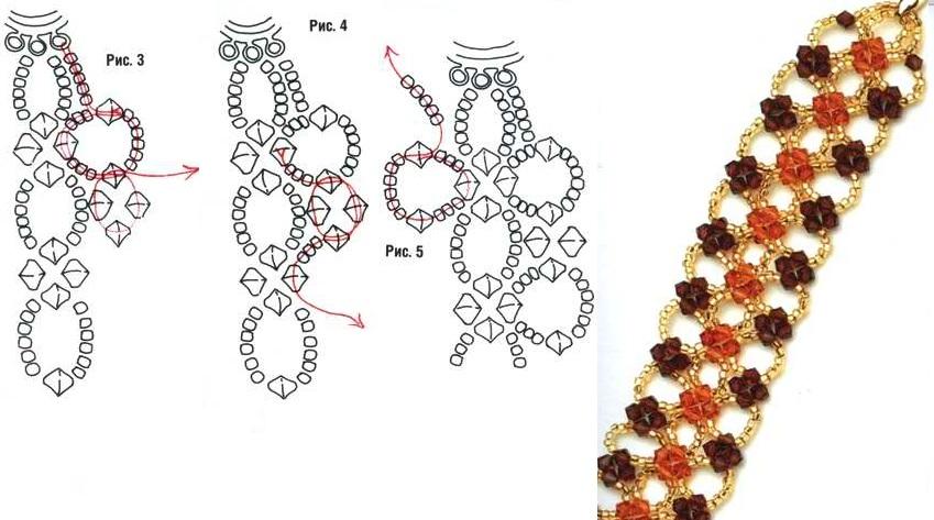 Бисероплетение схемы браслетов леской