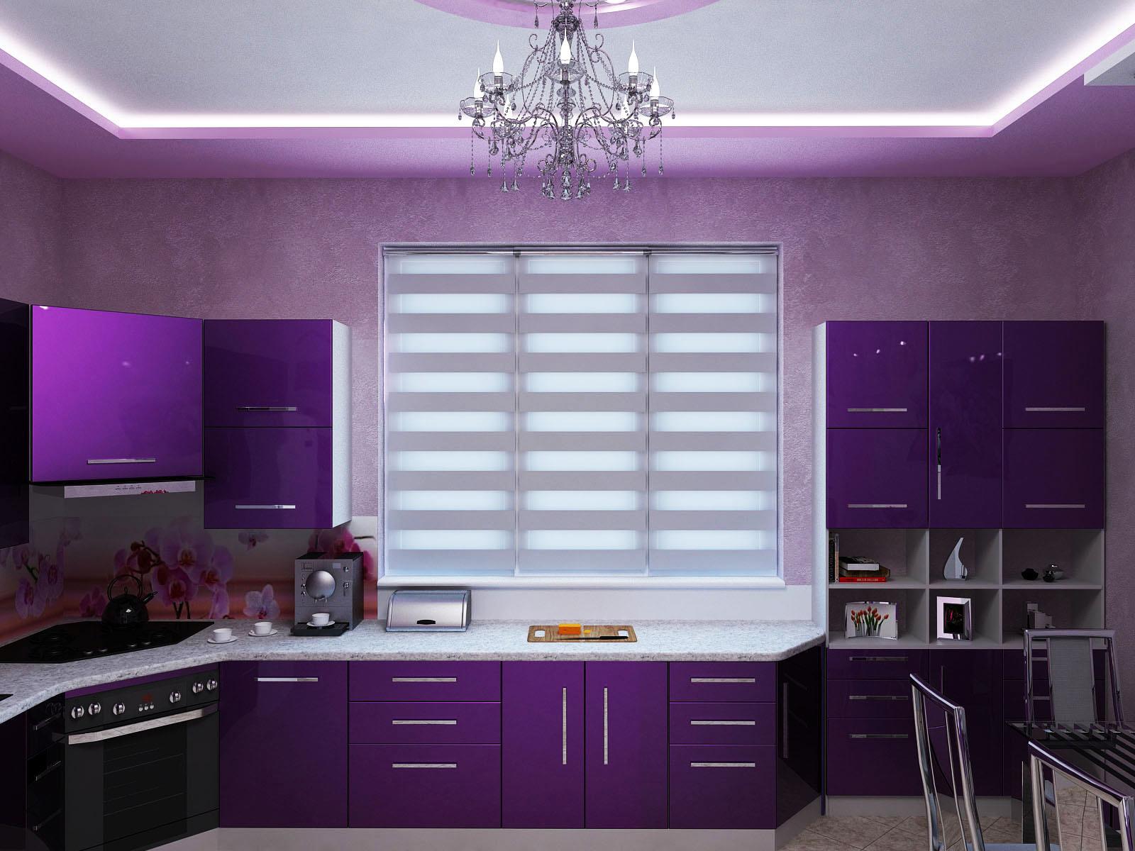 Сиреневая кухня дизайн интерьер