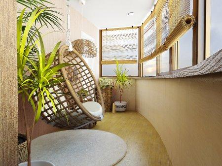 Интерьер балконов в стиле эко. Доступный каждому