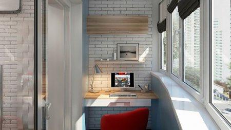 Интерьер балкона под кабинет: лучшие идеи
