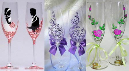 Як прикрасити весільні келихи своїми руками