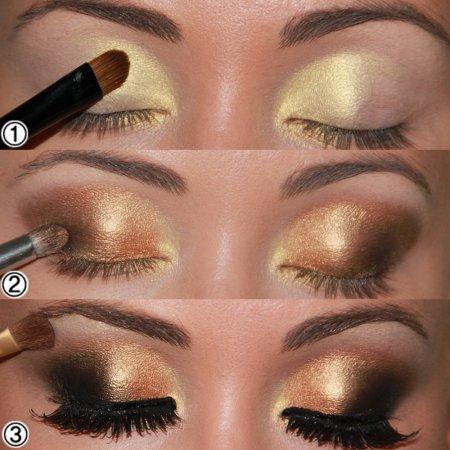 Кому подойдет макияж глаз золотыми тенями?