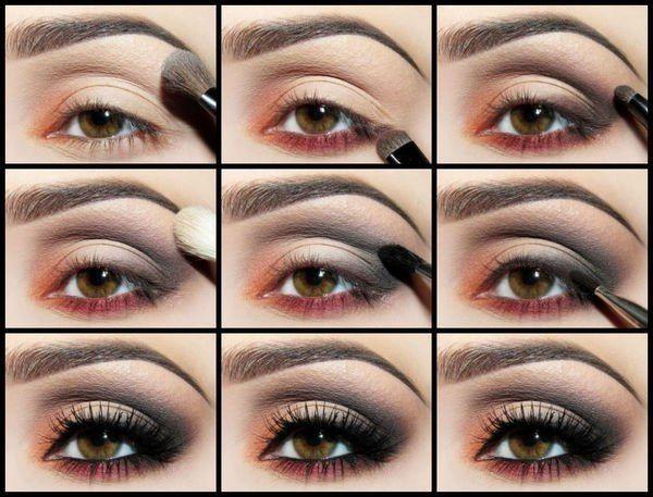 Макияж в коричневых тонах глазами фото