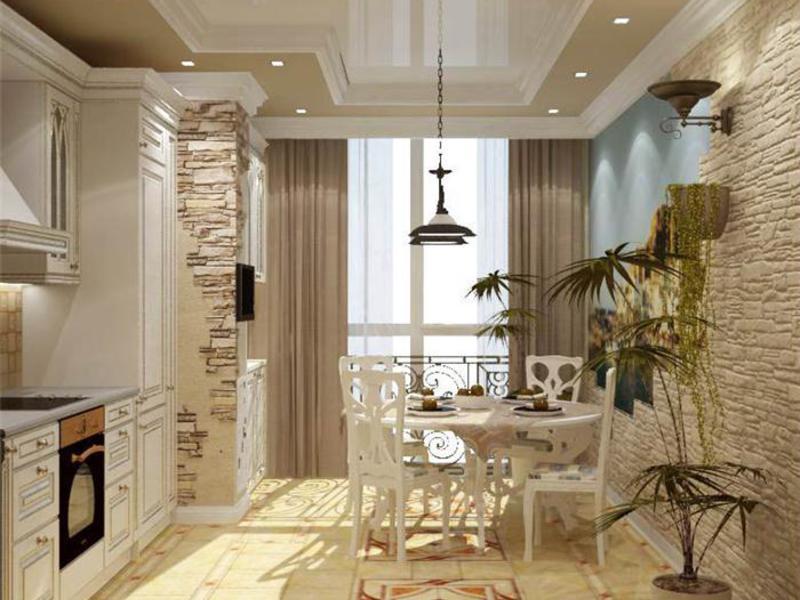 Интерьер кухни и столовой в доме.