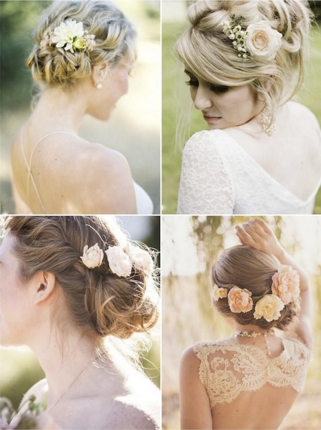 Причёска с цветами в волосах
