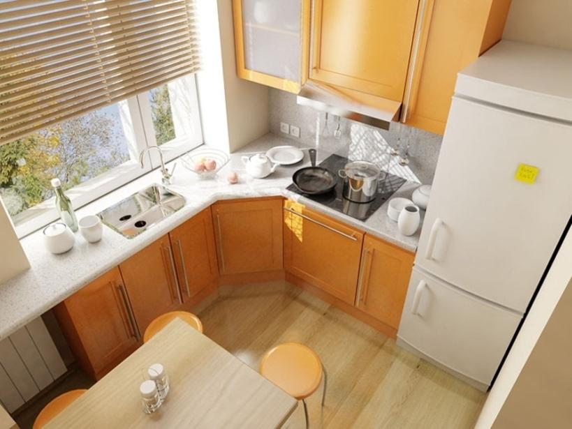 Дизайн 6 метровой кухни с холодильником фото
