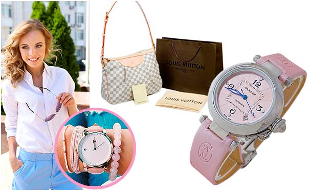 Сумка Louis_Vuitton и часы Cartier