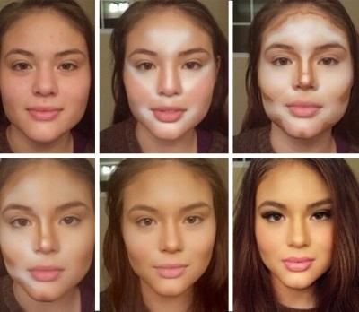 лицо худым с помощью макияжа